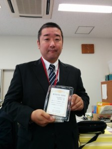 浜松市中体連より本校教員が優秀指導者として表彰されました