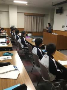 中学1年生初期指導合宿(27日夜)